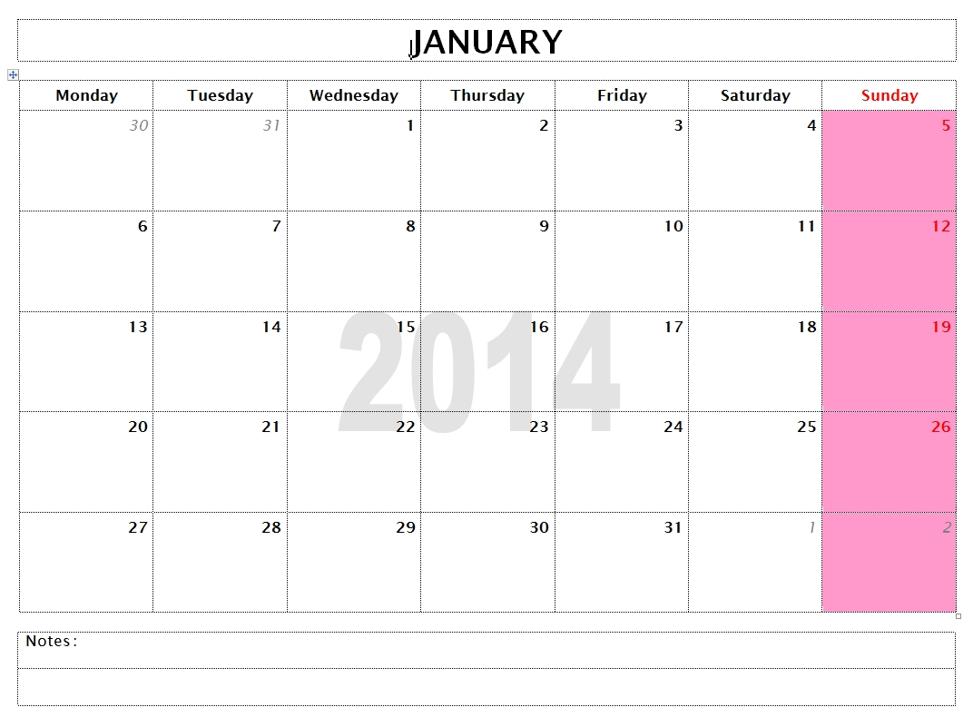2014 Monthly Calendar Template (MS Word/Openoffice/Libreoffice Writer)