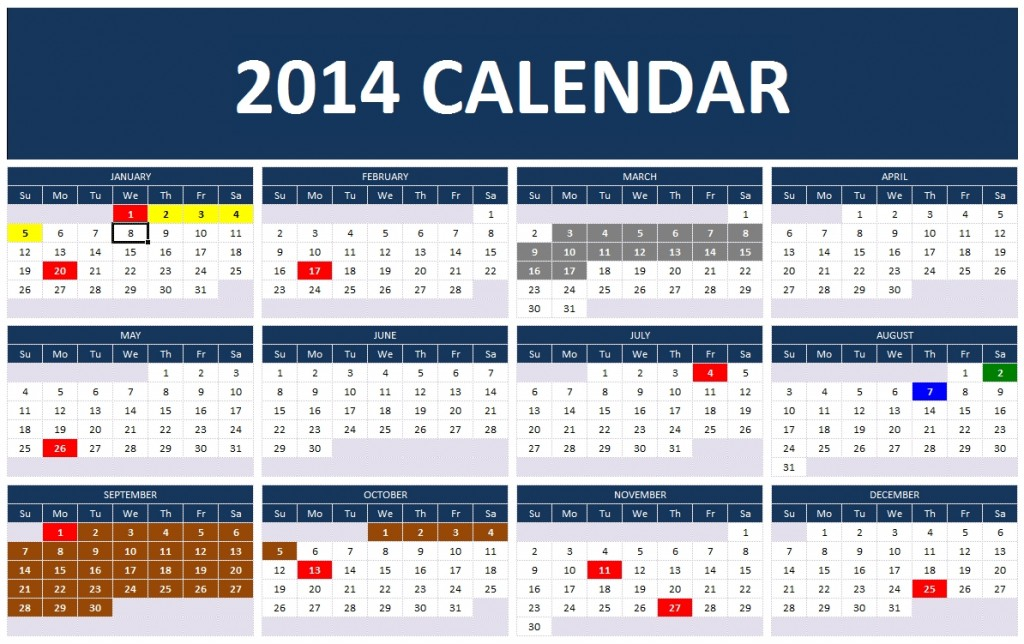 2014 Year Calendar Template (Excel)