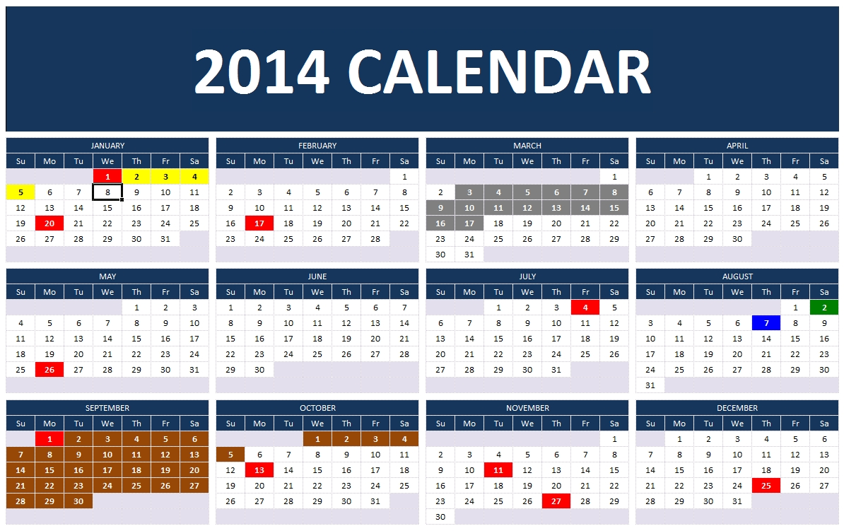 Excel 2014 year planning template autos post for 2014 full year calendar template