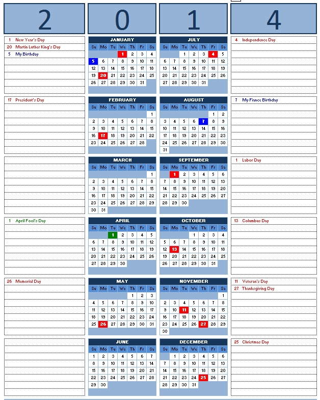 Monthly Calendar Template Microsoft Word