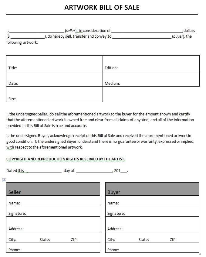 Microsoft Office Bill Of Sale Template