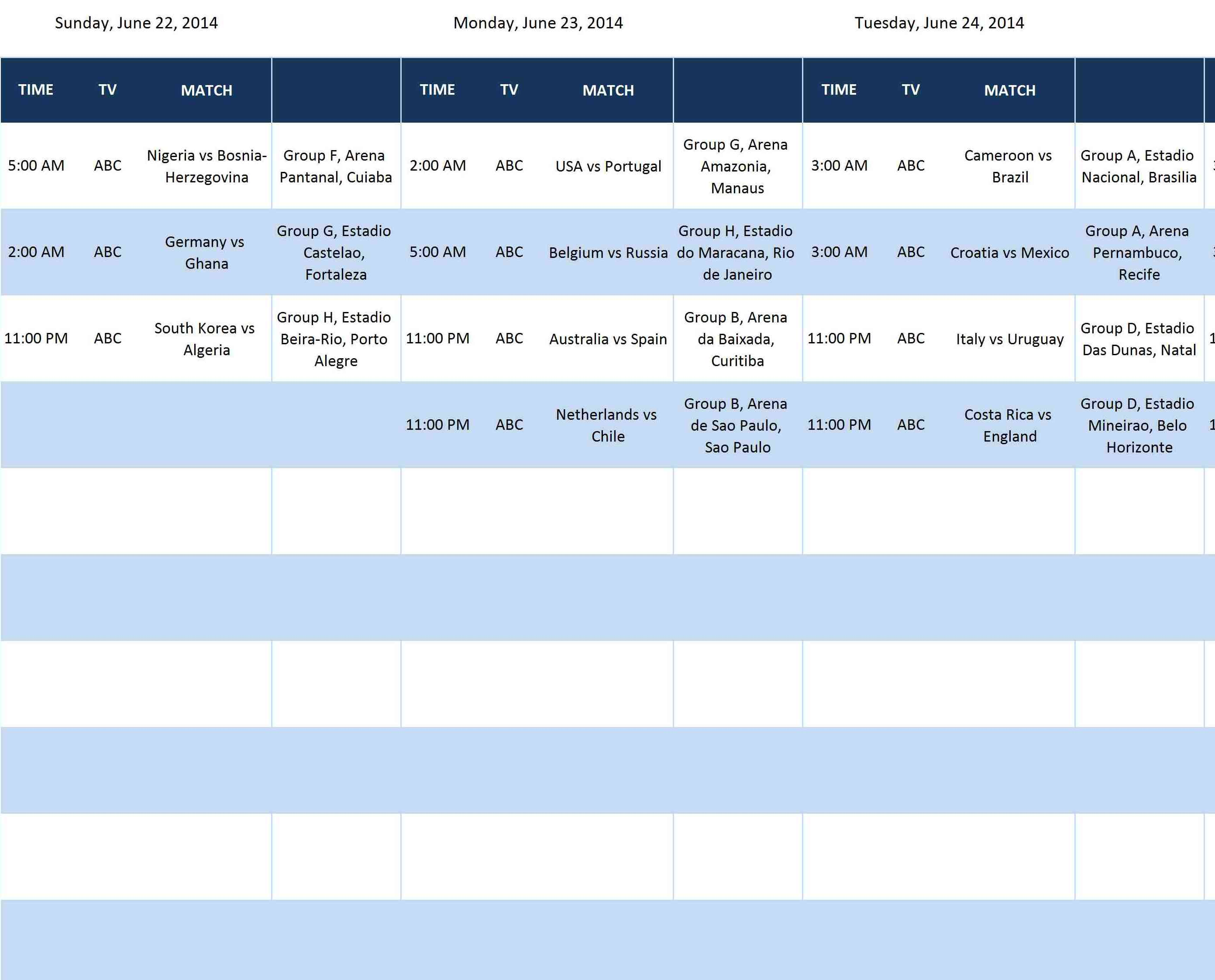 group schedule template