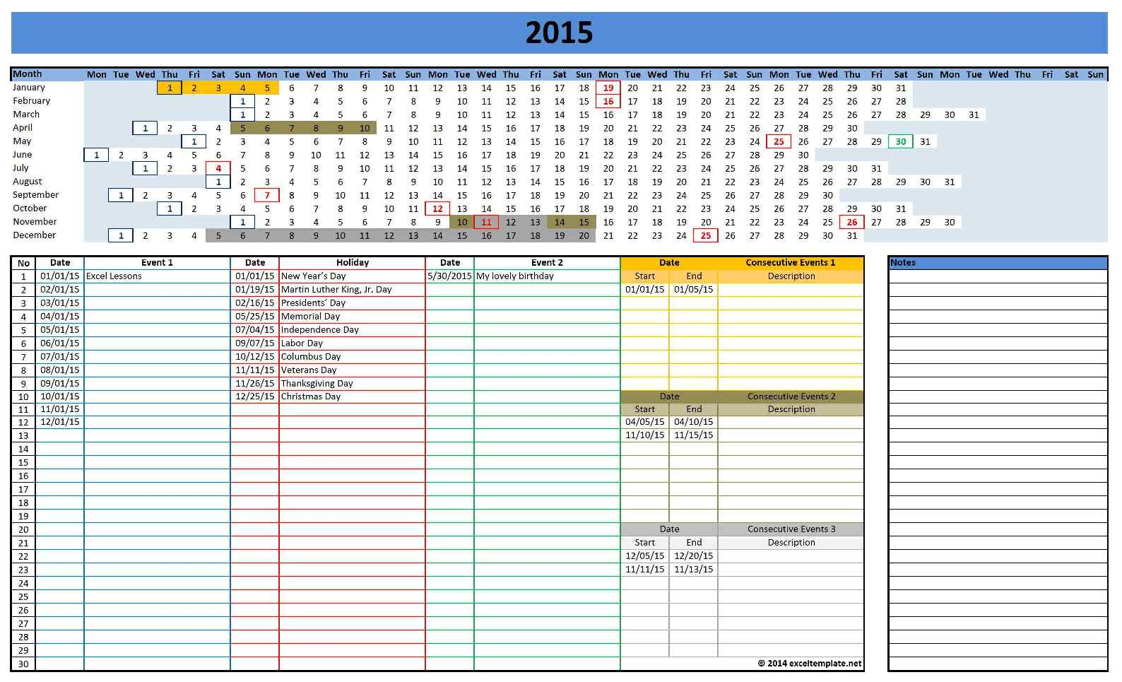 2015 Calendar Templates | Microsoft and Open Office Templates