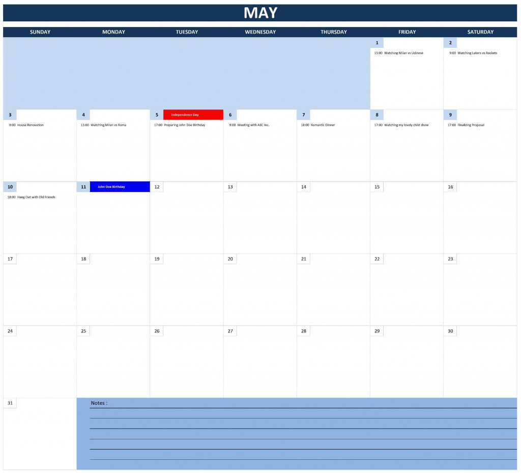 2015 Monthly Calendar (Excel)