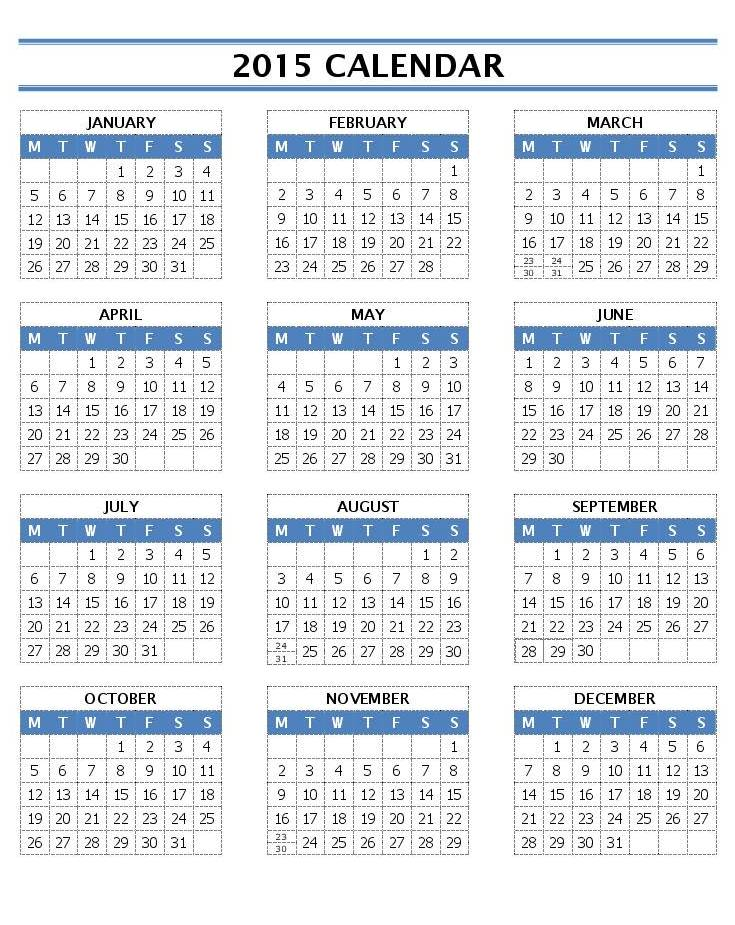 2015 Calendar Templates Microsoft And Open Office Templates