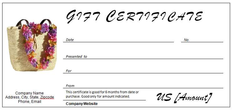 Gift Certificate for Travel Occasion