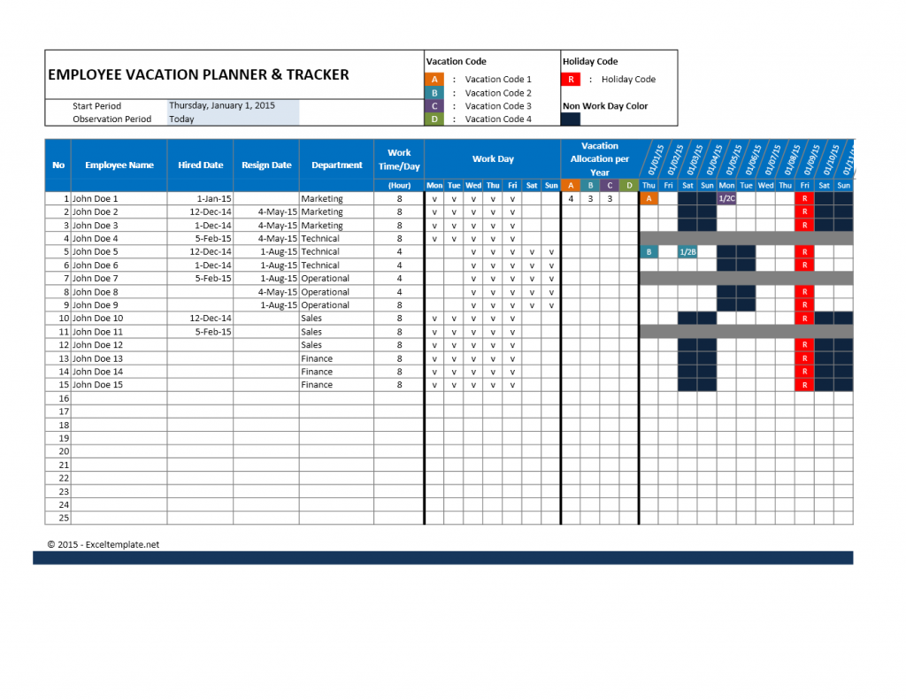 Employee Vacation Planner for Excel