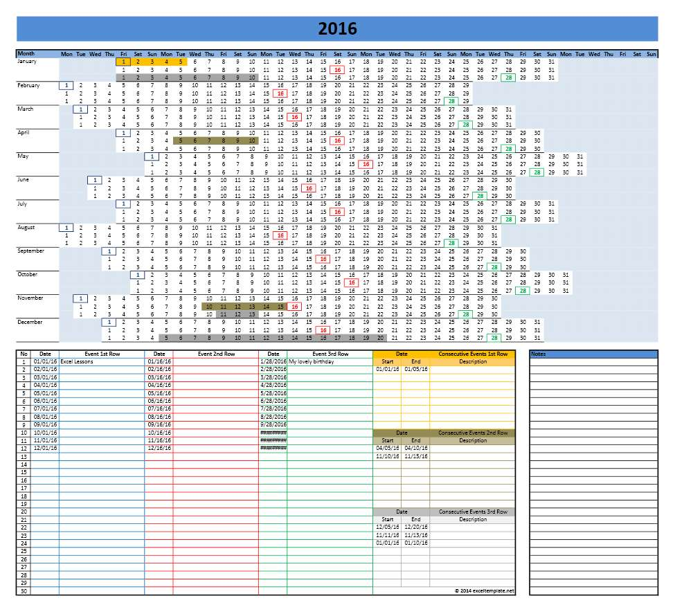 Excel Calendar Planner Template : Calendar templates microsoft and open office