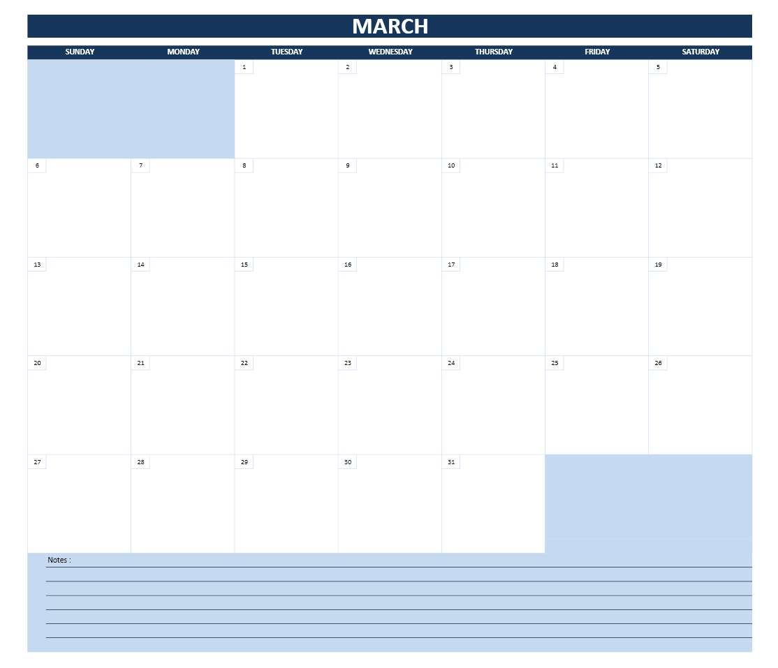 2016 Monthly Calendar   Excel Template