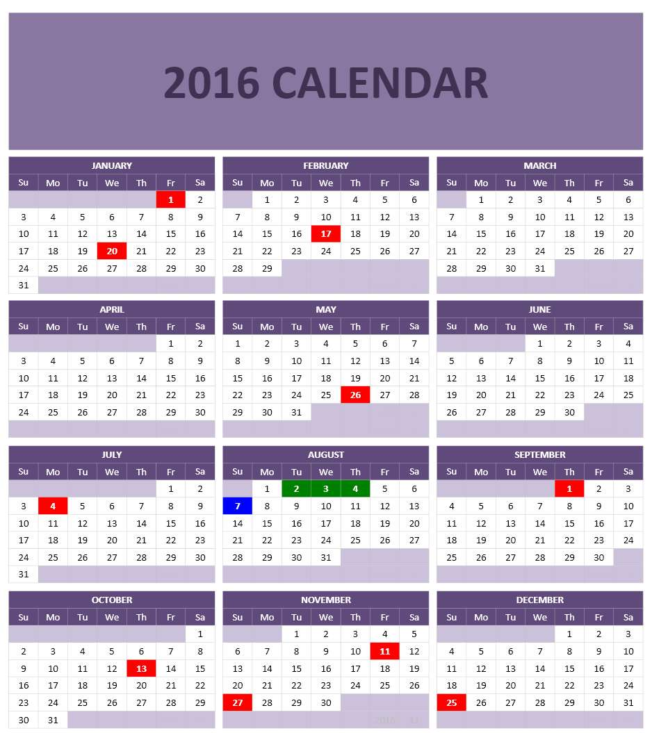 2016 calendar templates microsoft and open office templates for Open office calc templates