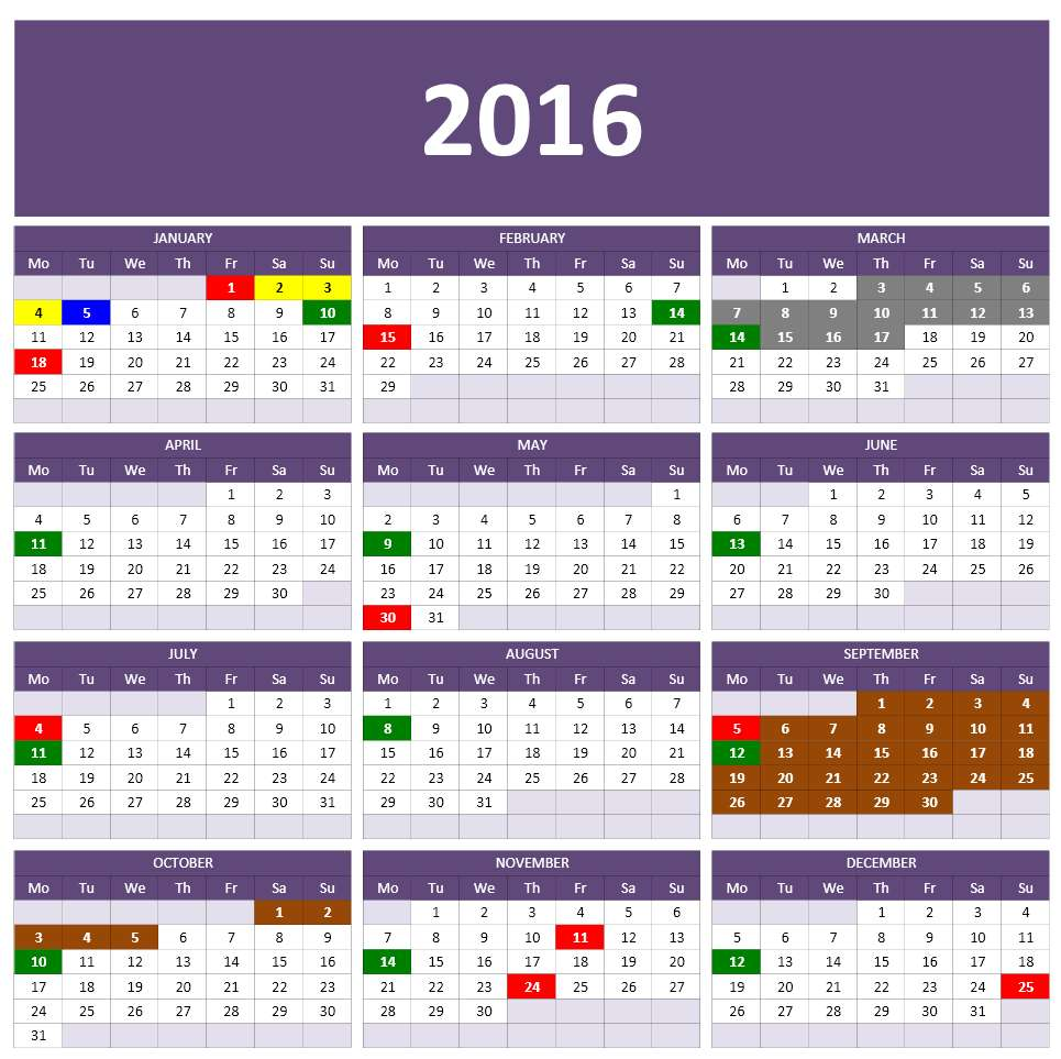 2016 Calendar Templates | Microsoft and Open Office Templates