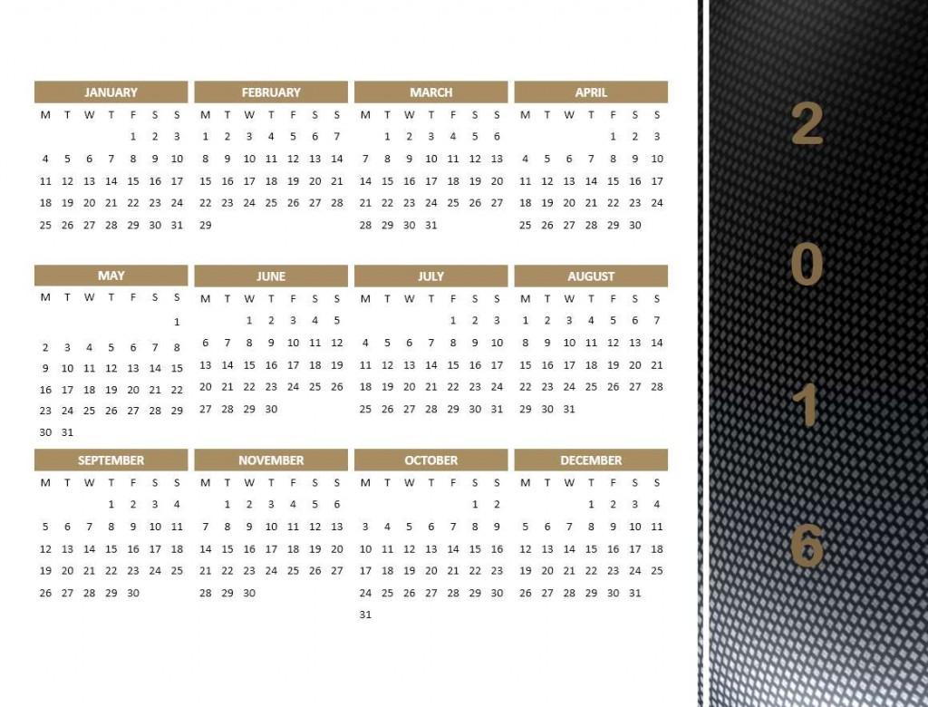 2016 Year Calendar Model 4 - Powerpoint Template