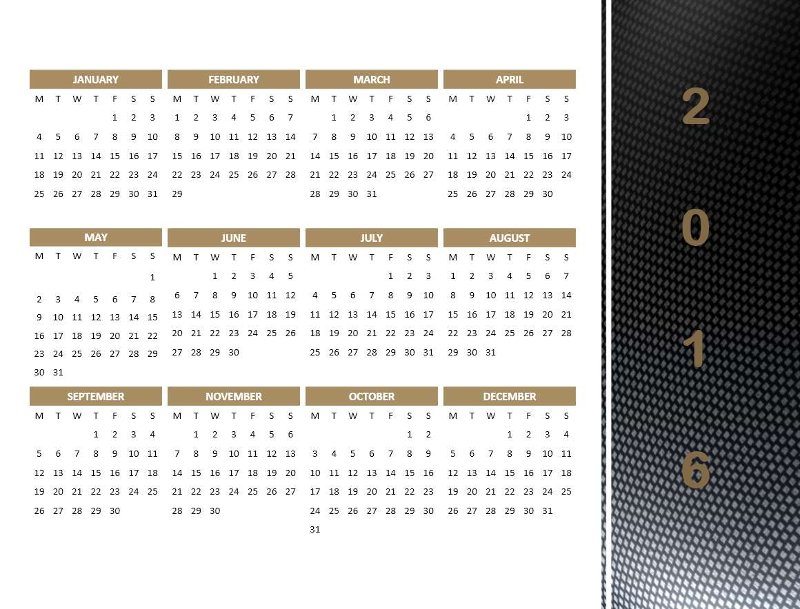 2016 calendar templates microsoft and open office templates 2016 year calendar model 4 powerpoint template toneelgroepblik Gallery