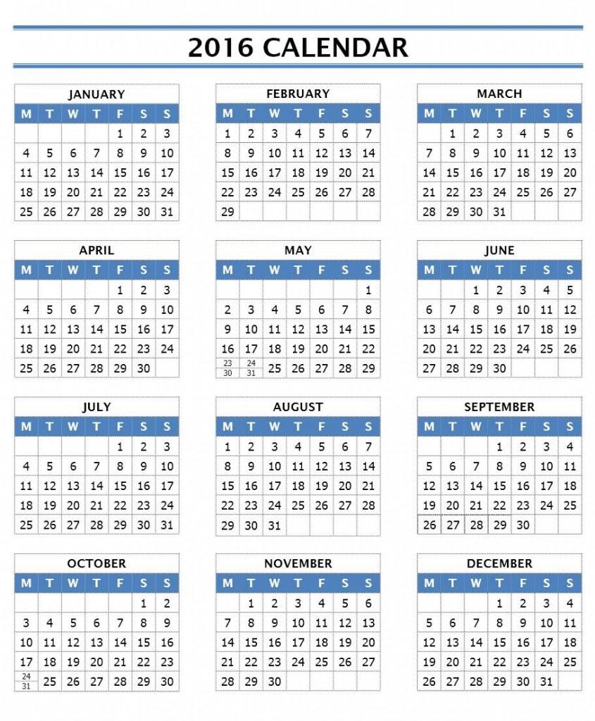 2016 Year Calendar - Word Template