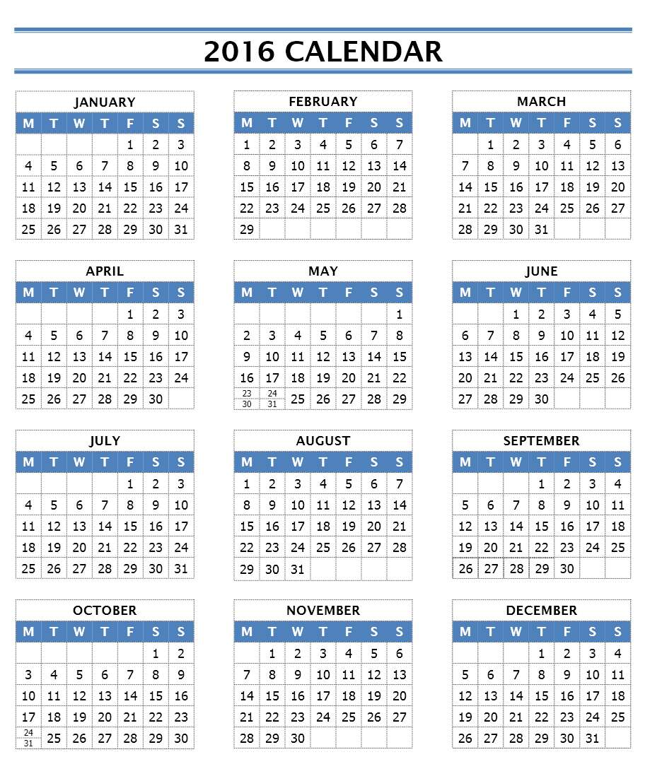 2016 Year Calendar   Word Template  Calendar Templates In Word