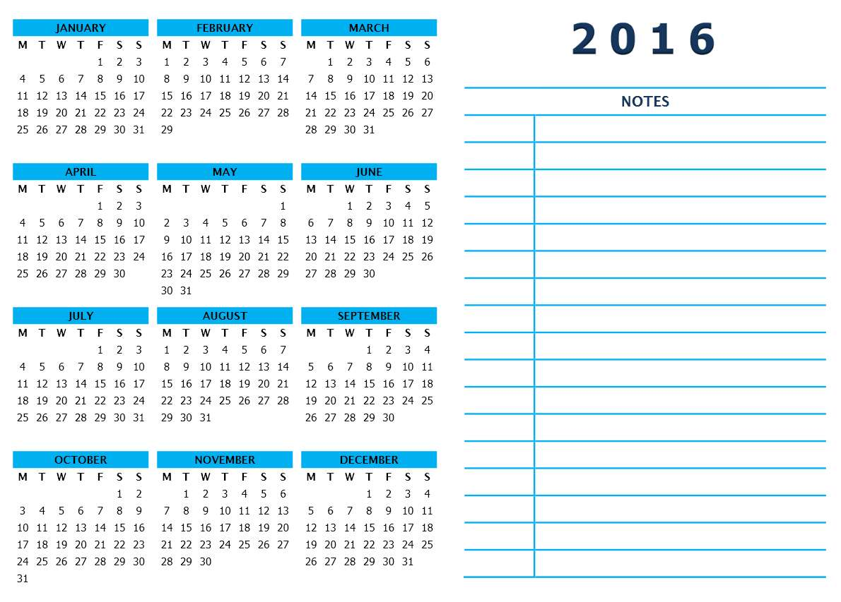 2016 Year Calendar With Side Notes   Word Template  Calendar Template For Word