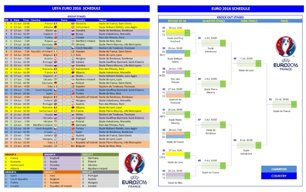 Euro 2016 Schedule for Microsoft Word