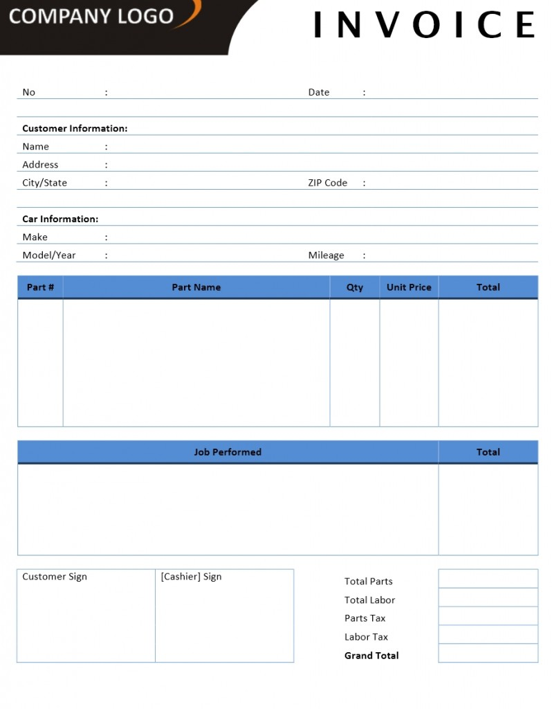Auto Repair Invoice Templates for Excel, Word and Writer