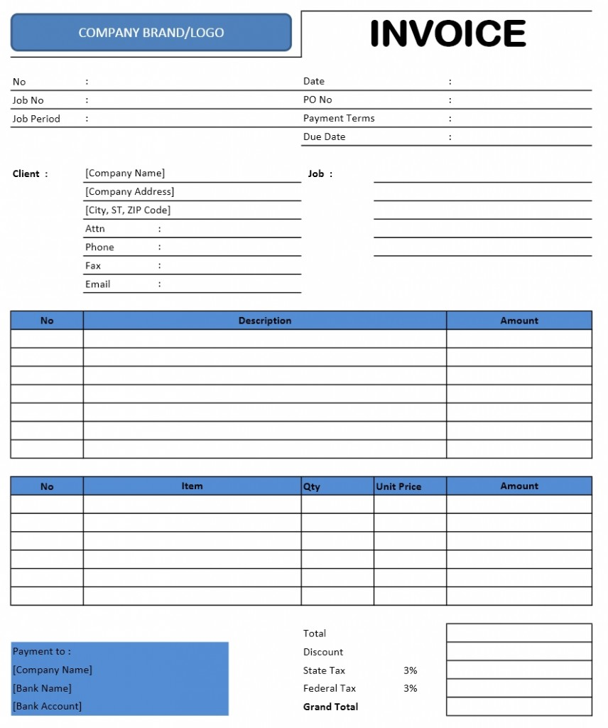 Photography Invoice Templates for Excel, Word and Writer