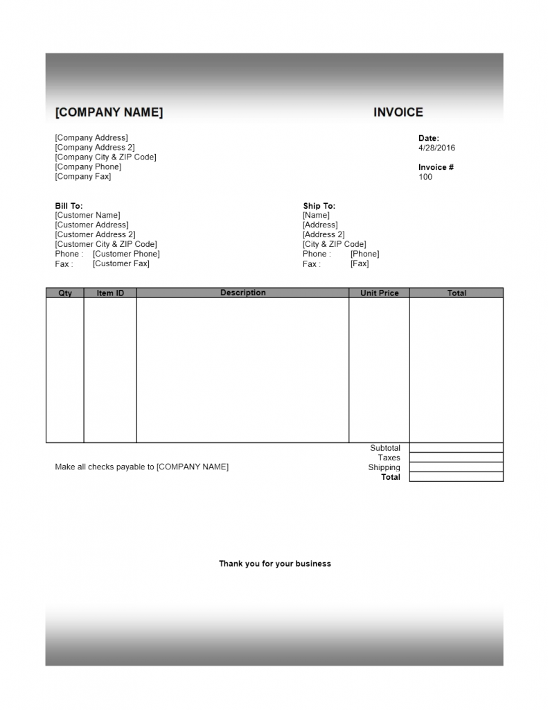 Retail Product Invoice Templates for Excel, Word and Writer