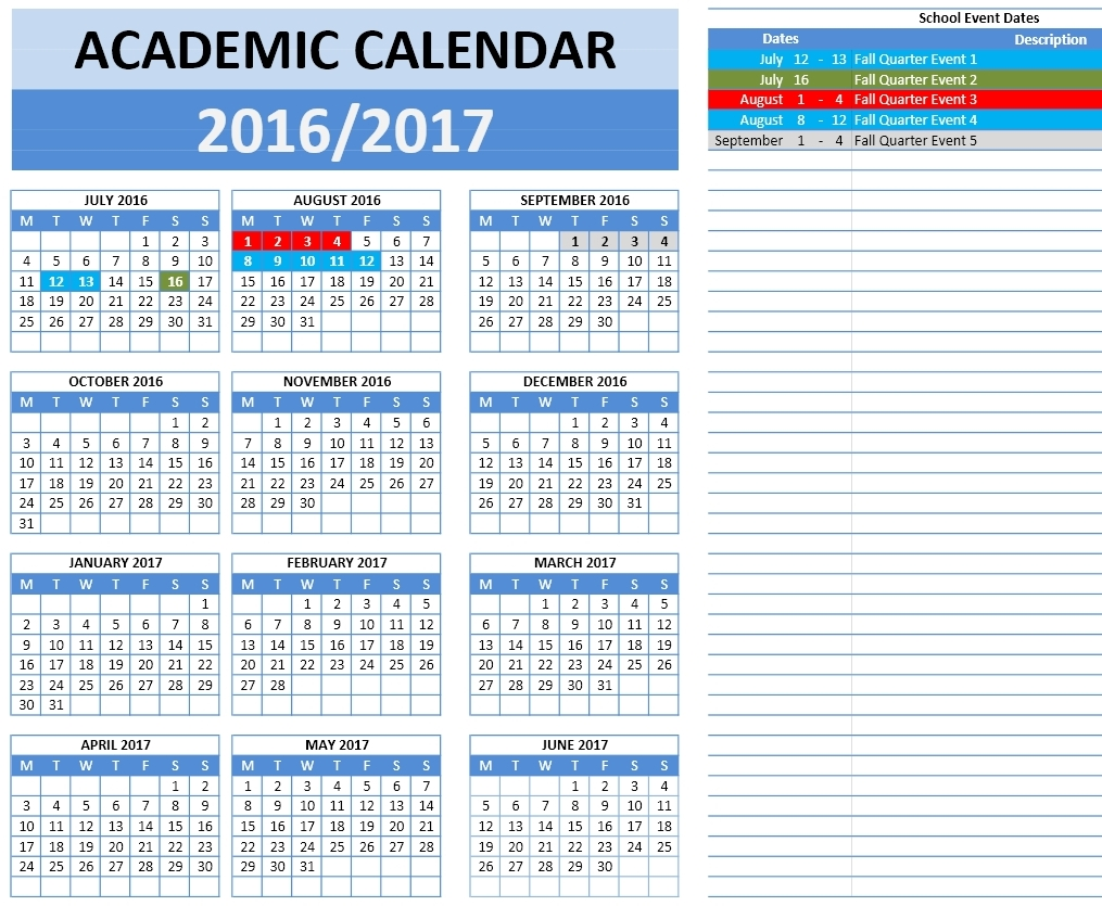 2016/2017 School Calendar Templates | Microsoft and Open Office ...