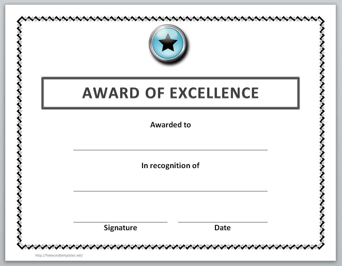 Award Of Excellent Certificate Template  Microsoft Word Certificate Templates