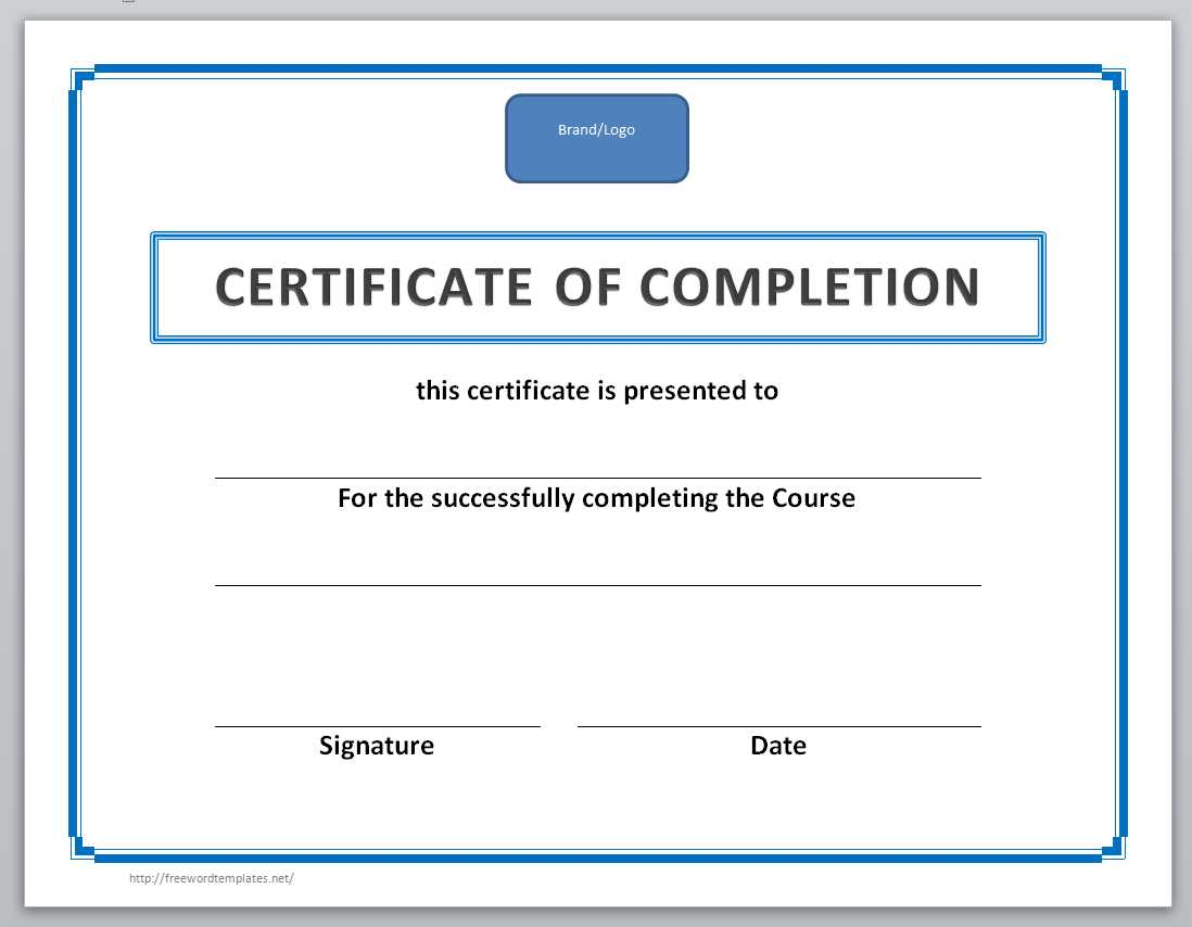 Certificate Of Completion Template  Certificate Template Word