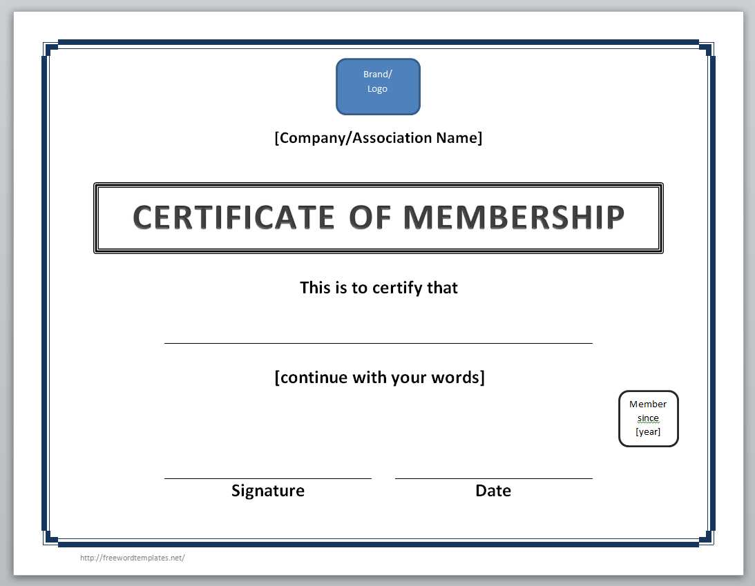 Certificate Of Membership Template  Free Certificate Template For Word