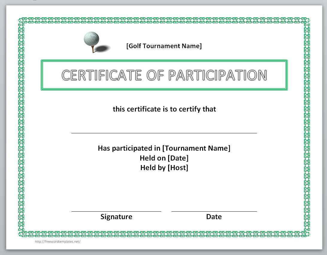 Certificate Of Participation Template  Birth Certificate Template Word