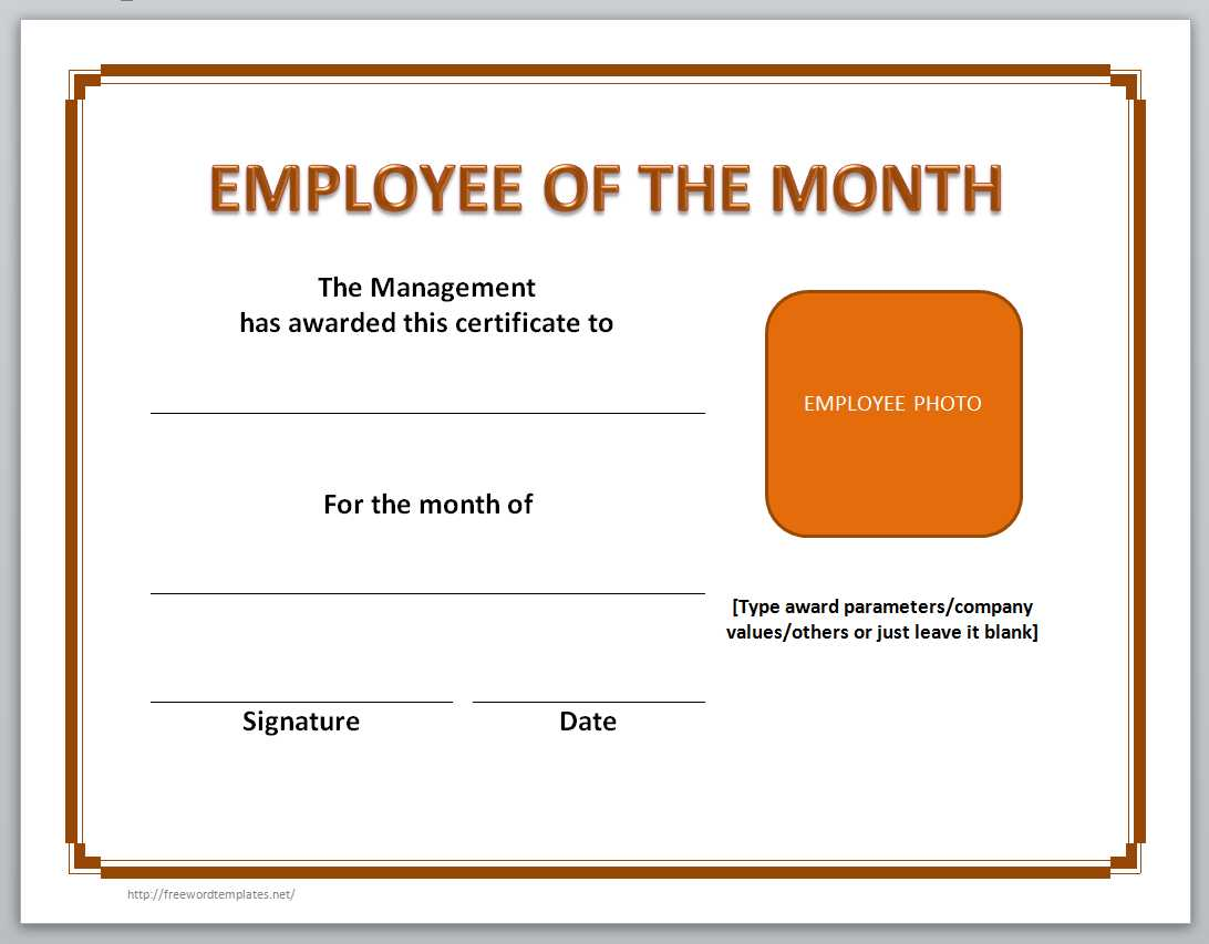 Employee Of The Month Certificate Template  Microsoft Word Certificate Templates