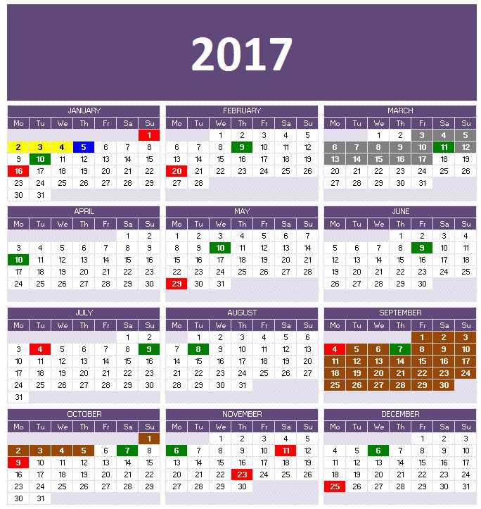 2017 Calendar Templates for Excel/Calc - One Page