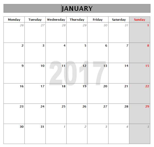 2017 Calendar Templates for Excel/Word - Monthly