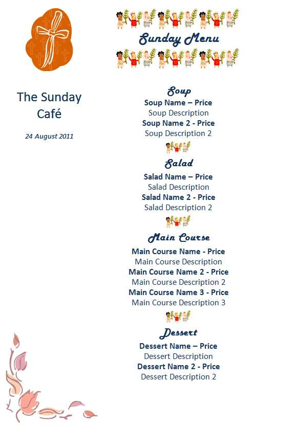Great Special Day Menu Template Word Within Cafe Menu Template Word