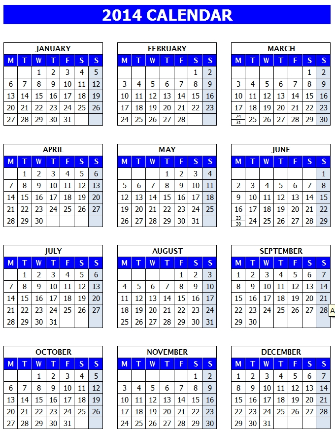 2014 Year Calendar Template (Openoffice/Libreoffice Writer)