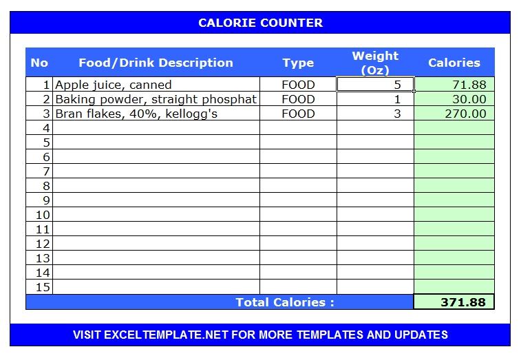 Calorie Counter Calculator Template (Microsoft Excel/Openoffice Calc/Libreoffice Calc)