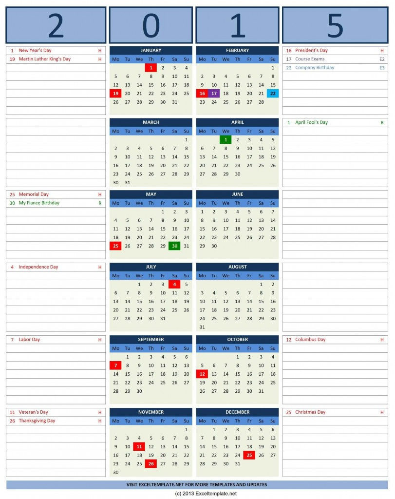 2015 Year Calendar with Note - Excel