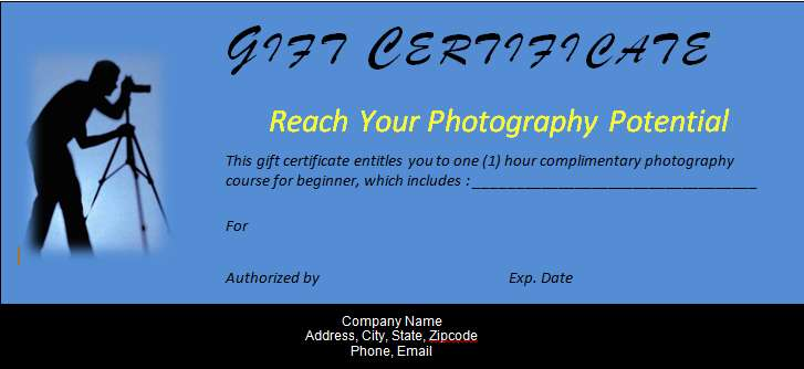 Gift Certificate Template Word for Photography Course