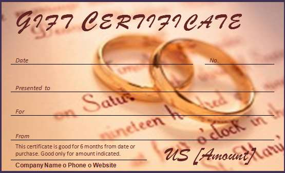 Wedding Gift Certificate Template