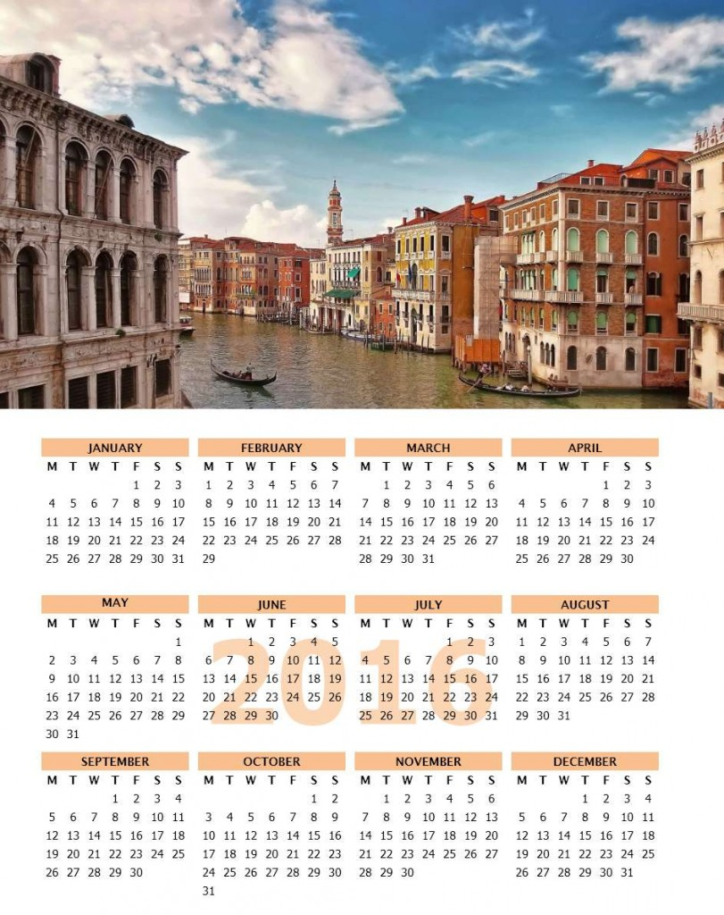 2016 Photo Calendar Portrait - Word Template