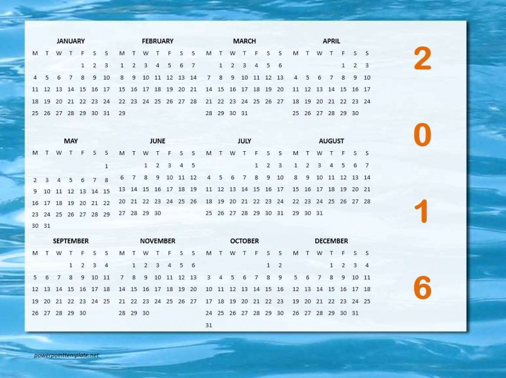 2016 Year Calendar - Impress Template