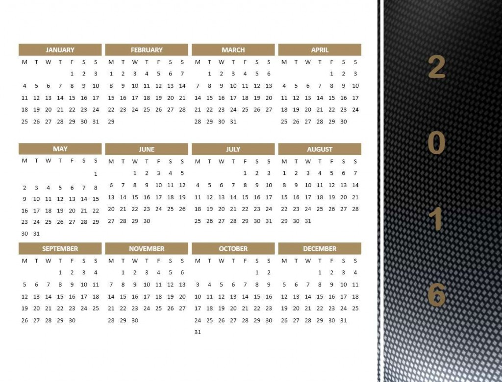 2016 Year Calendar Model 4 - Powerpoint Template