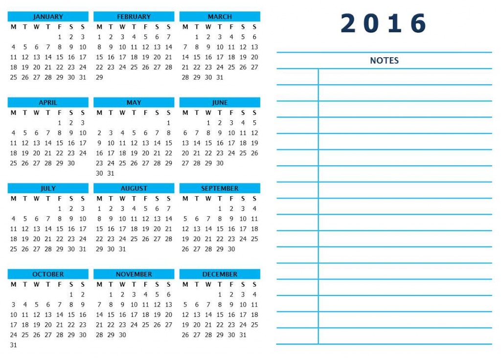 2016 Year Calendar with Side Notes - Word Template