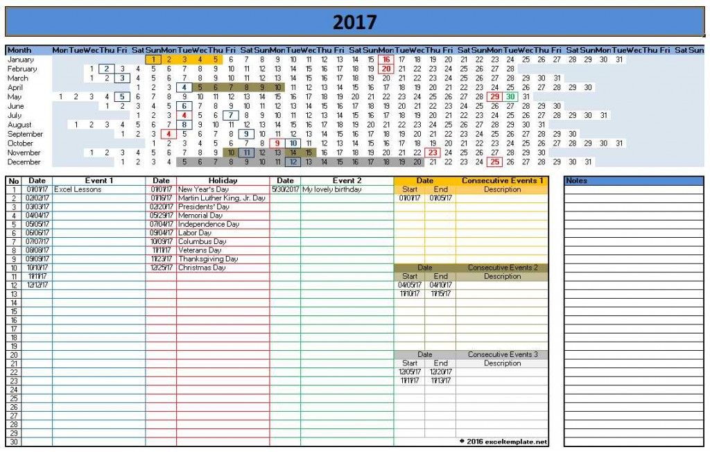 2017 Calendar Templates for Excel/Word - Linear