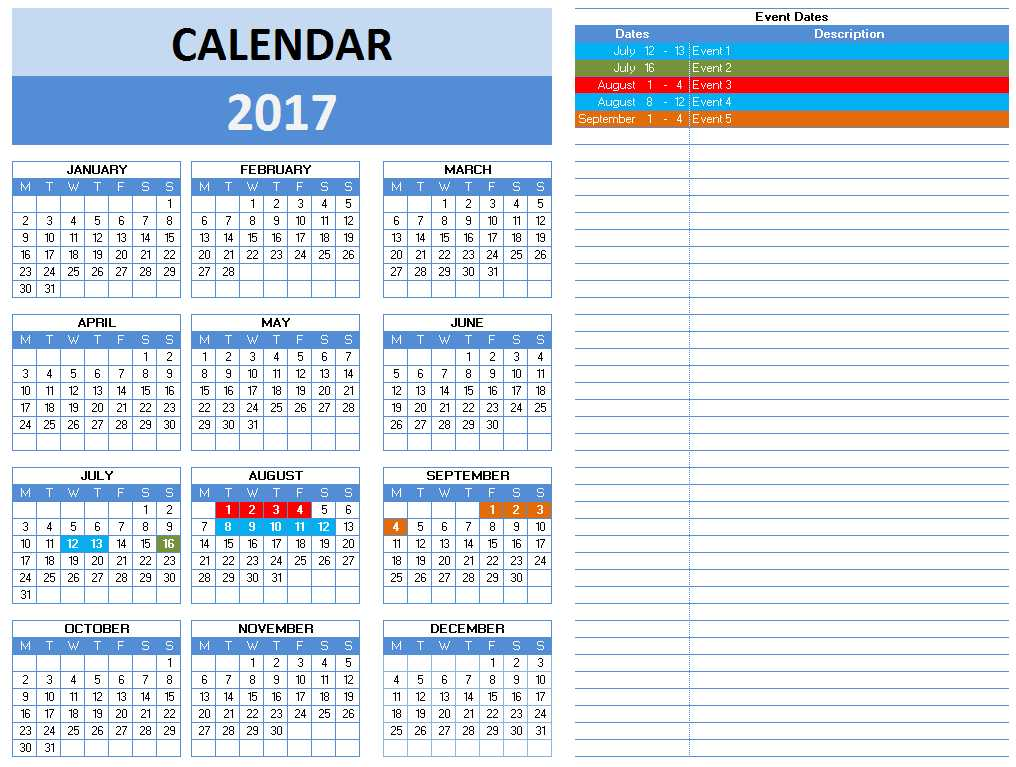2017 Calendar Templates for Excel - with Notes