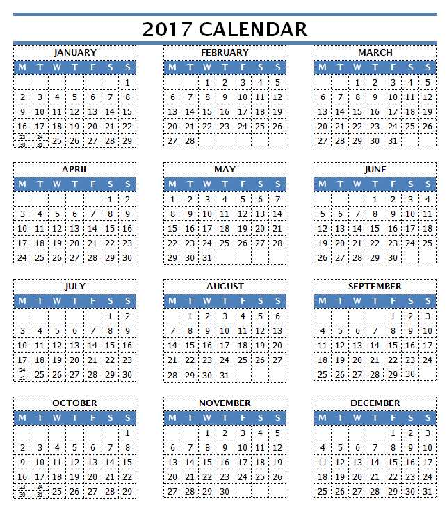 2017 Calendar Templates for Word/Writer - One Page