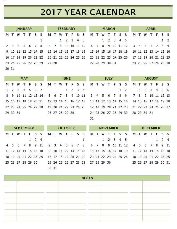 2017 Calendar Templates for Word - with Notes
