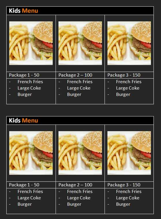 Kids Menu Template Word