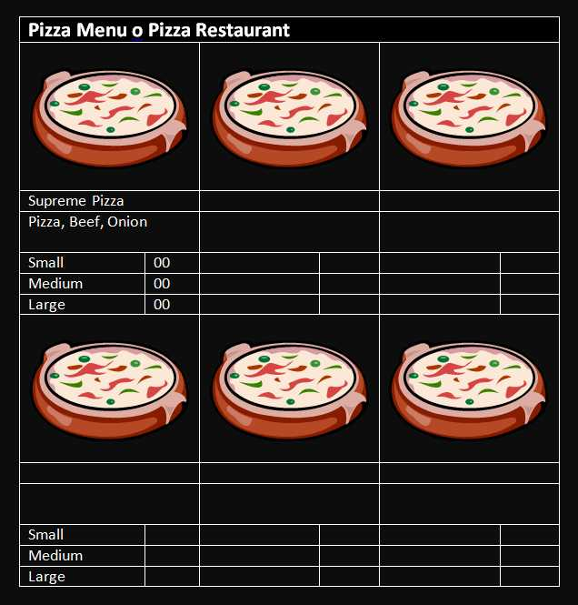 Pizza Menu Template Word
